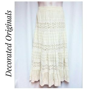 Decorated Originals Skirts - 100% Cotton Lace and Gauze Tiered Maxi-Skirt XL
